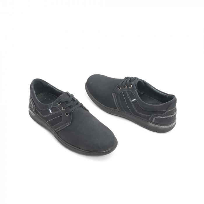 Pantofi barbati casual piele naturala nabuc Leofex 521, negru 2