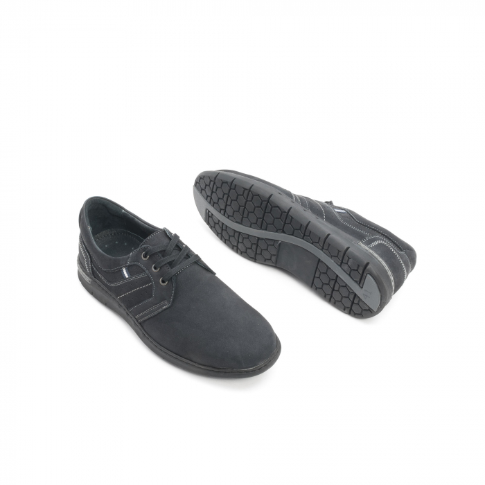 Pantofi barbati casual piele naturala nabuc Leofex 521, negru 3