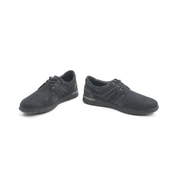 Pantofi barbati casual piele naturala nabuc Leofex 521, negru 4