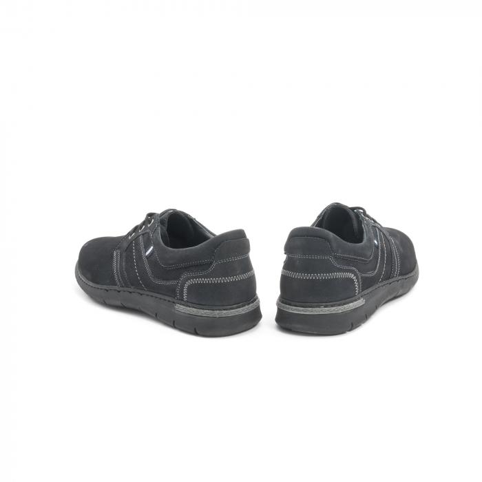 Pantofi barbati casual piele naturala nabuc Leofex 521, negru 6