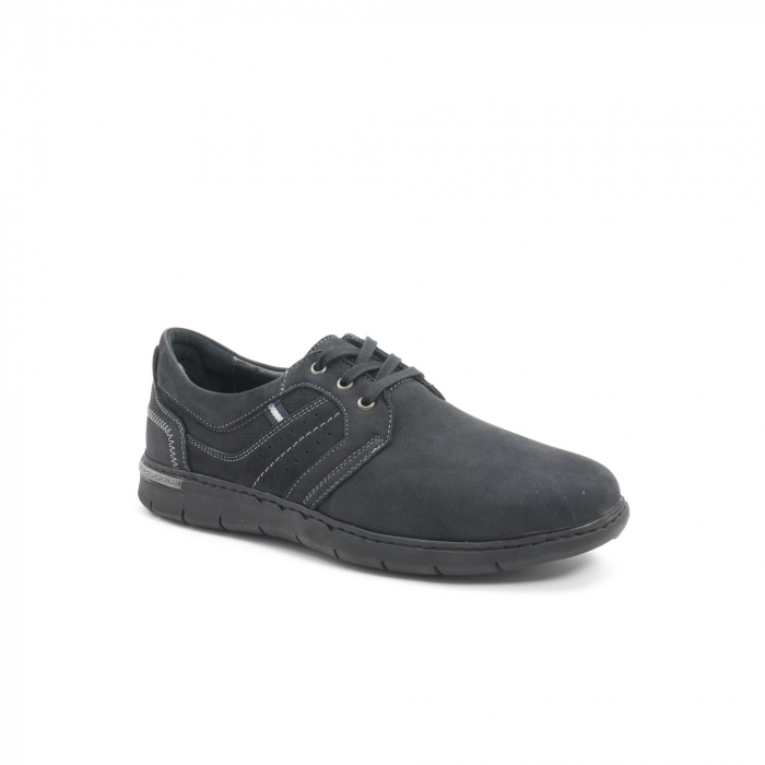 Pantofi barbati casual piele naturala nabuc Leofex 521, negru 0