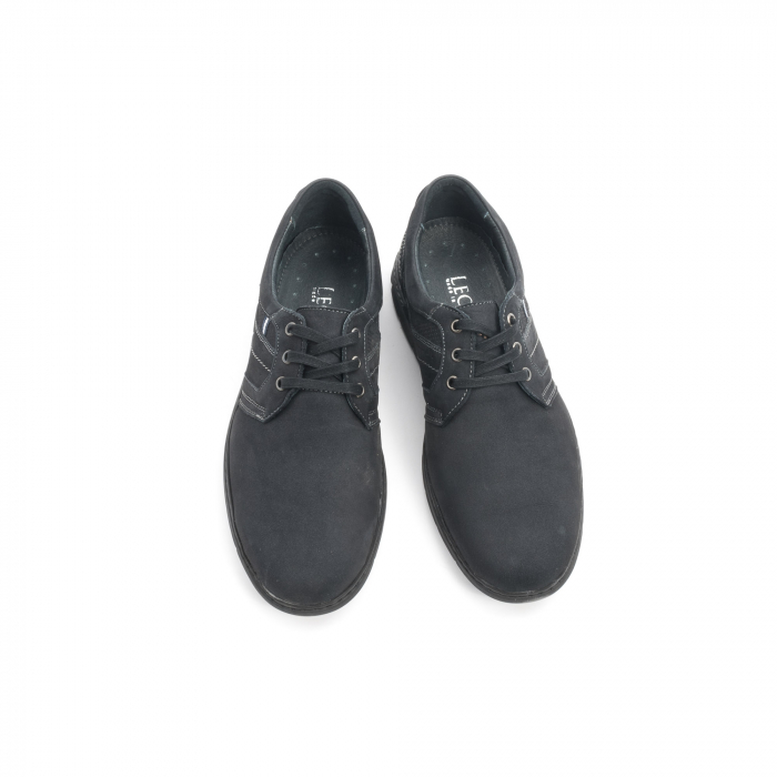 Pantofi barbati casual piele naturala nabuc Leofex 521, negru 5