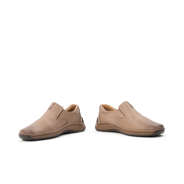 Pantofi barbati casual, piele naturala, Leofex 919, taupe 4