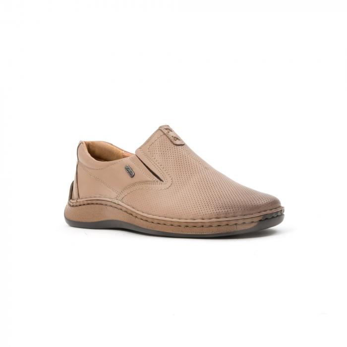 Pantofi barbati casual, piele naturala, Leofex 919, taupe 0