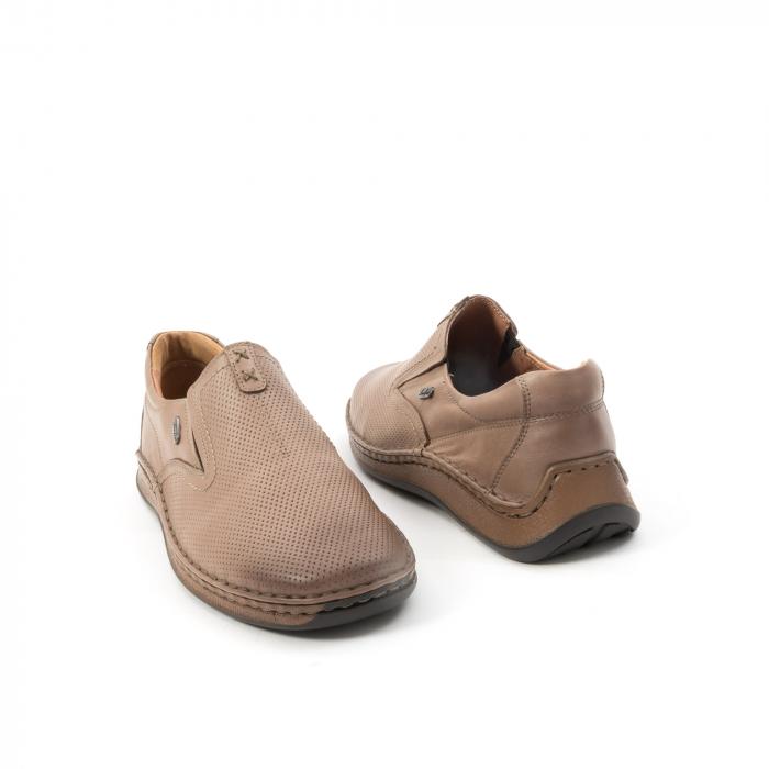 Pantofi barbati casual, piele naturala, Leofex 919, taupe 2