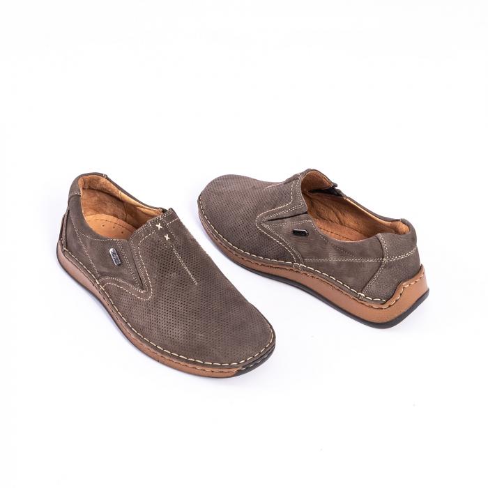 Pantofi barbati casual, piele naturala,Leofex 919, taupe nubuc 3