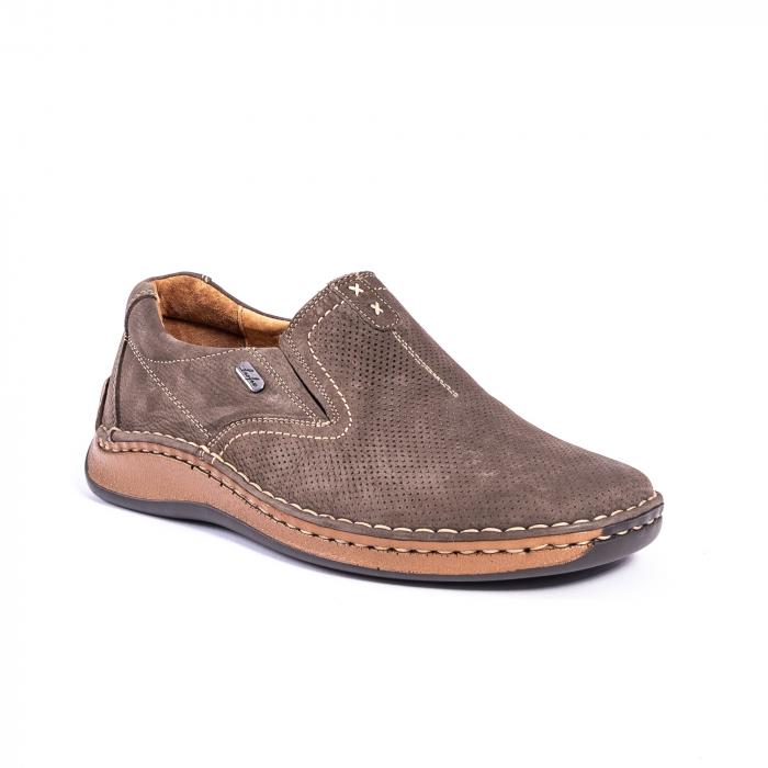Pantofi barbati casual, piele naturala,Leofex 919, taupe nubuc 0