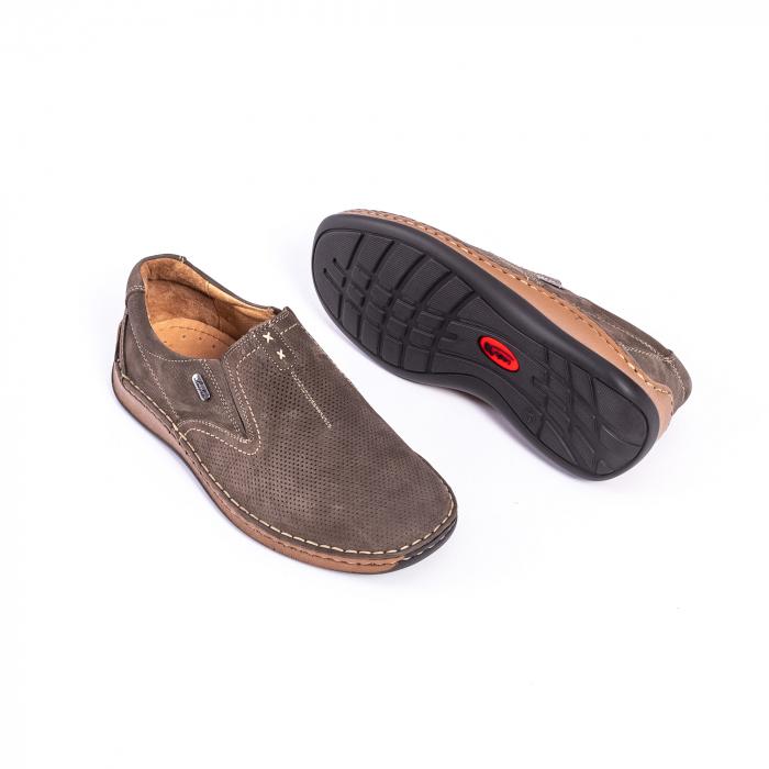 Pantofi barbati casual, piele naturala,Leofex 919, taupe nubuc 2