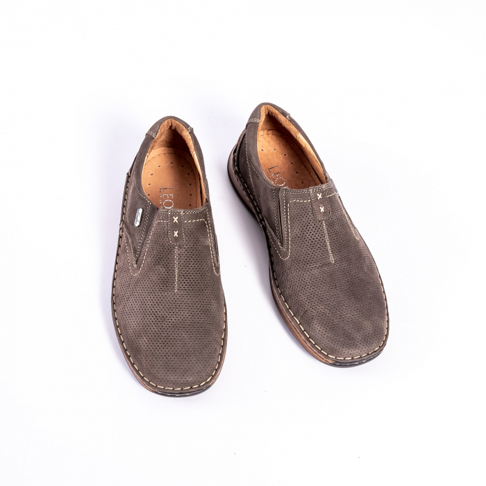 Pantofi barbati casual, piele naturala,Leofex 919, taupe nubuc 5
