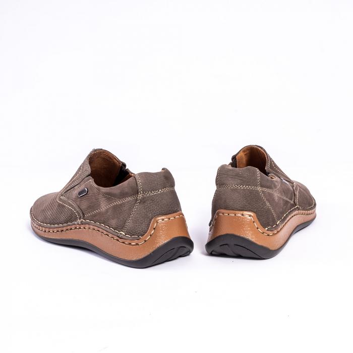 Pantofi barbati casual, piele naturala,Leofex 919, taupe nubuc 6