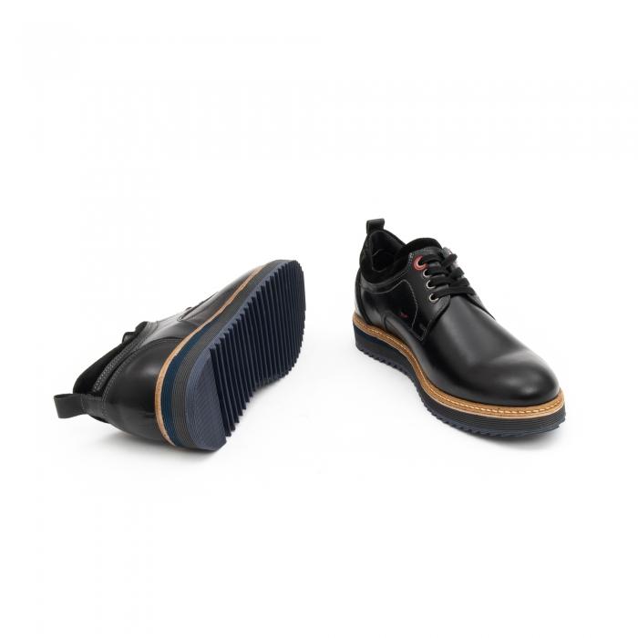 Pantofi barbati casual piele naturala, Leofex 969, negru 3