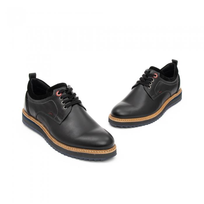 Pantofi barbati casual piele naturala, Leofex 969, negru 2
