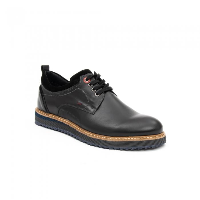 Pantofi barbati casual piele naturala, Leofex 969, negru 0