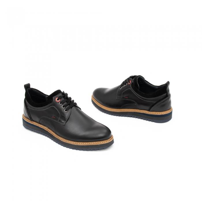 Pantofi barbati casual piele naturala, Leofex 969, negru 1