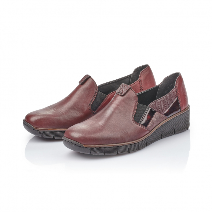 Pantof casual dama din piele naturala Rieker 53754-35 bordo 4