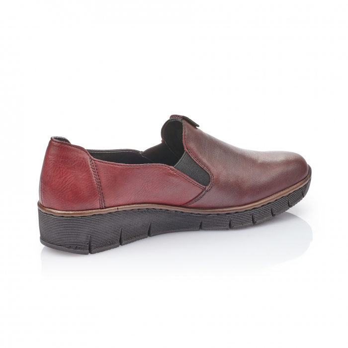 Pantof casual dama din piele naturala Rieker 53754-35 bordo 3