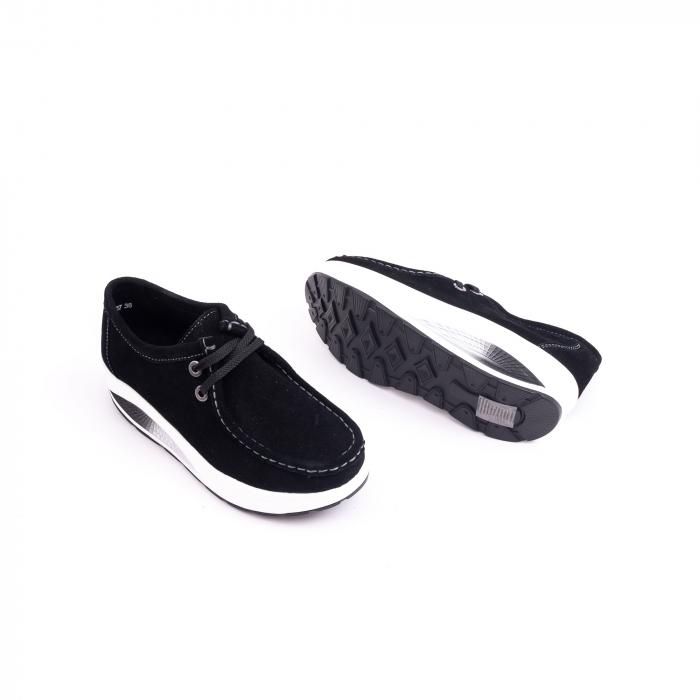 Pantof casual dama F003-1807 black suede 1