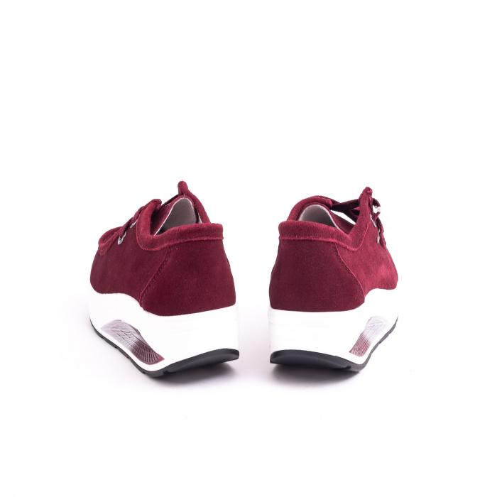 Pantof casual dama F003-1807 burgundy suede 6