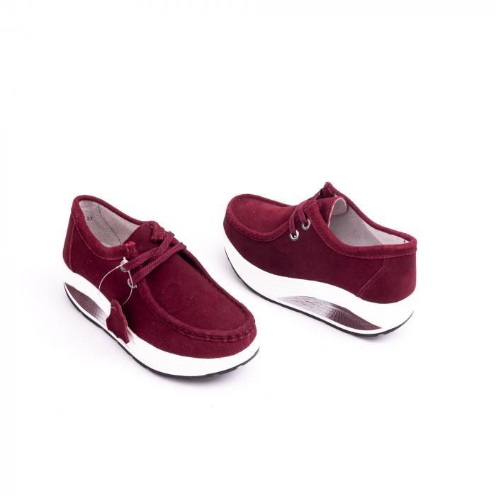 Pantof casual dama F003-1807 burgundy suede 1