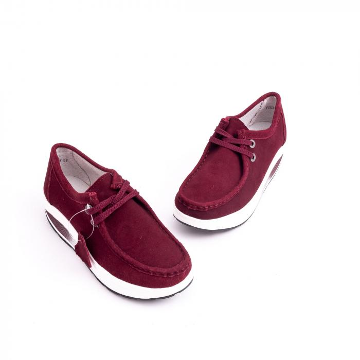 Pantof casual dama F003-1807 burgundy suede 3