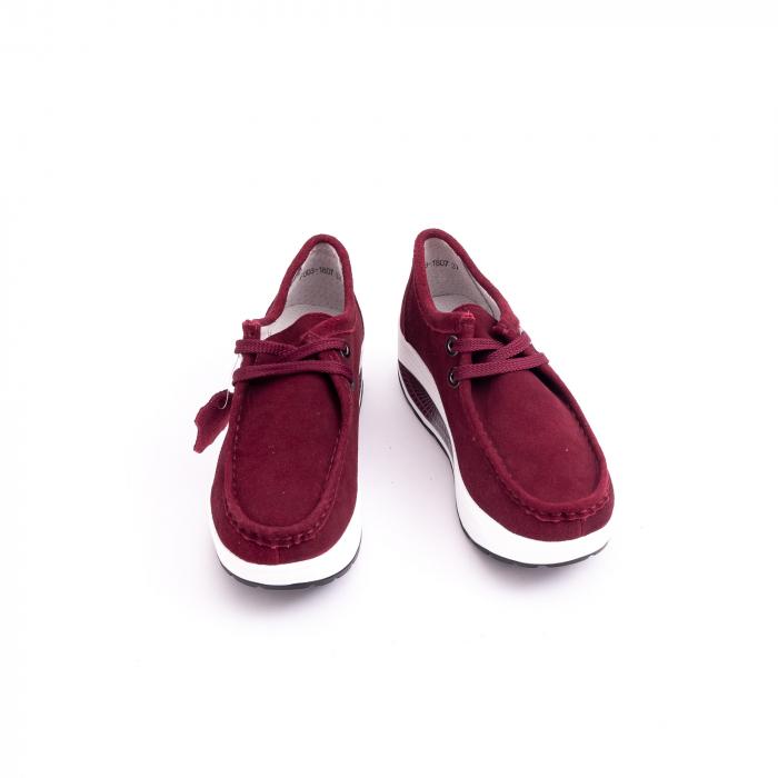Pantof casual dama F003-1807 burgundy suede 5