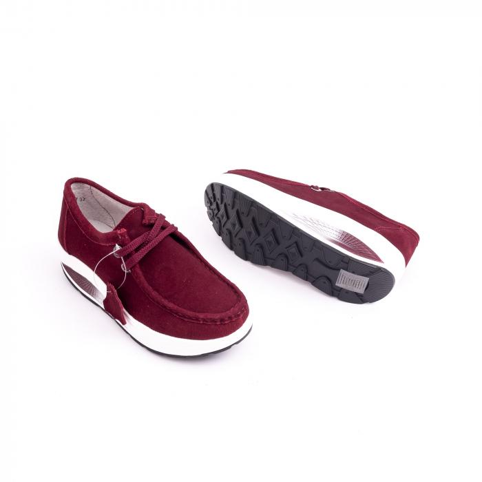 Pantof casual dama F003-1807 burgundy suede 2