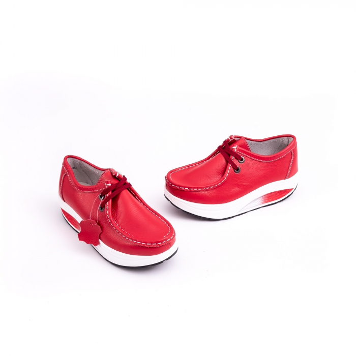 Pantof casual dama F003-1807 red leather [1]