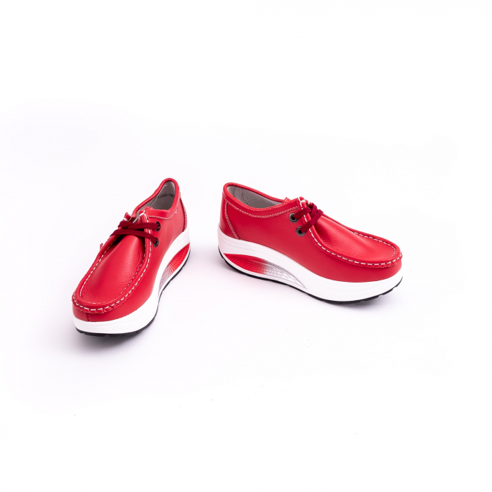 Pantof casual dama F003-1807 red leather [4]
