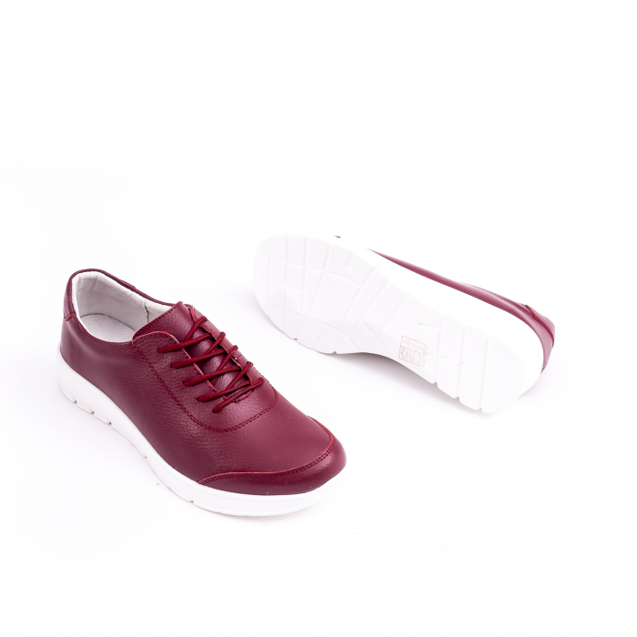 Pantof casual  Angel Blue VK-F001-442 burgundy leather 2