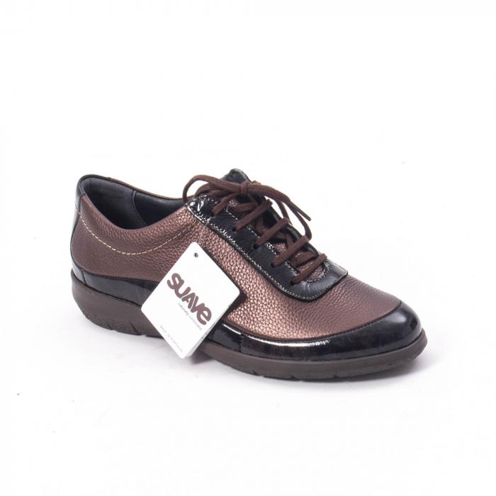 Pantofi dama casual piele naturala Suave Oxford 6605, maro 0