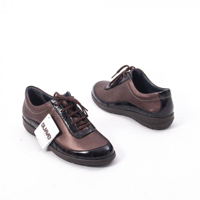 Pantofi dama casual piele naturala Suave Oxford 6605, maro 2