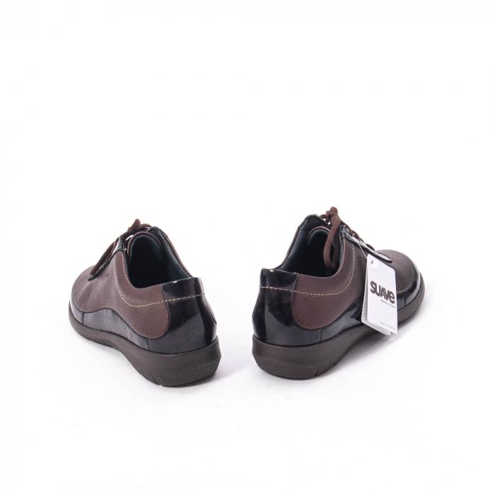 Pantofi dama casual piele naturala Suave Oxford 6605, maro 6