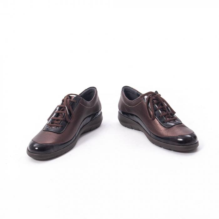 Pantofi dama casual piele naturala Suave Oxford 6605, maro 4