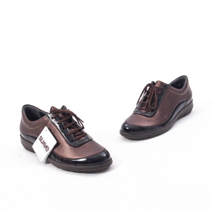 Pantofi dama casual piele naturala Suave Oxford 6605, maro 1