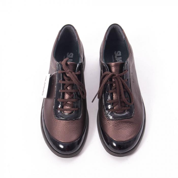 Pantofi dama casual piele naturala Suave Oxford 6605, maro 5