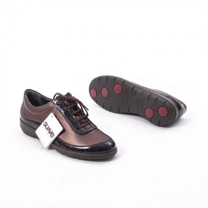 Pantofi dama casual piele naturala Suave Oxford 6605, maro 3
