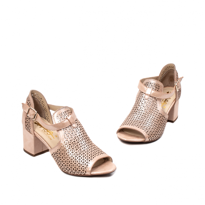 Pantof dama decupat elegant, piele naturala texturata, UF935 1