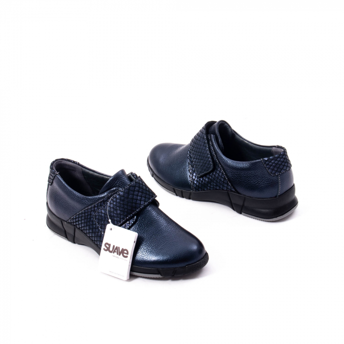 Pantofi casual dama piele Suave Sukyoto 9203, bleumarin 2