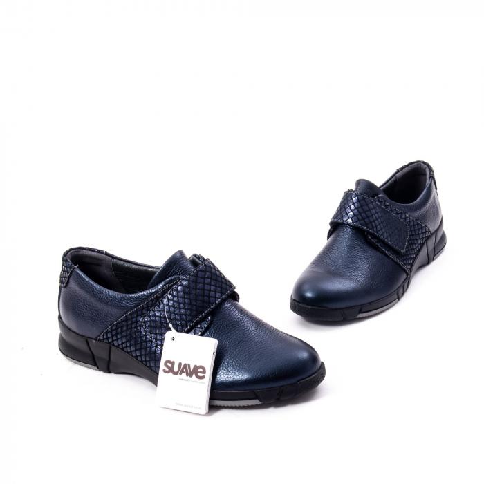 Pantofi casual dama piele Suave Sukyoto 9203, bleumarin 6