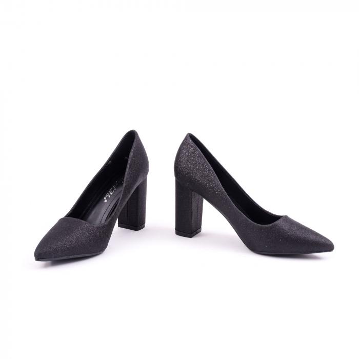 Pantof elegant 660 negru glitter 4