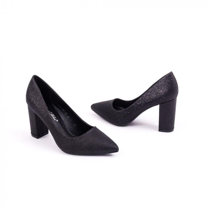 Pantof elegant 660 negru glitter 3