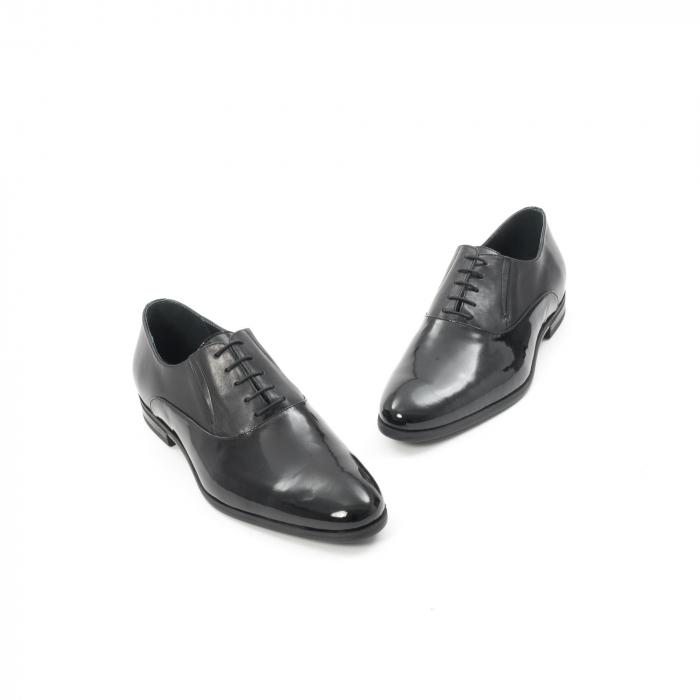 Pantof elegant barbat LFX 526 negru box cu lac. 1
