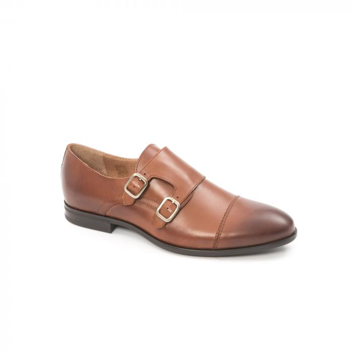 Pantofi barbati eleganti piele naturala Leofex 933, coniac 0