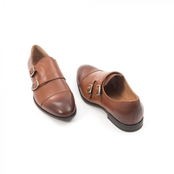 Pantofi barbati eleganti piele naturala Leofex 933, coniac 2