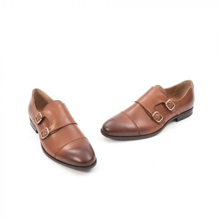 Pantofi barbati eleganti piele naturala Leofex 933, coniac 1