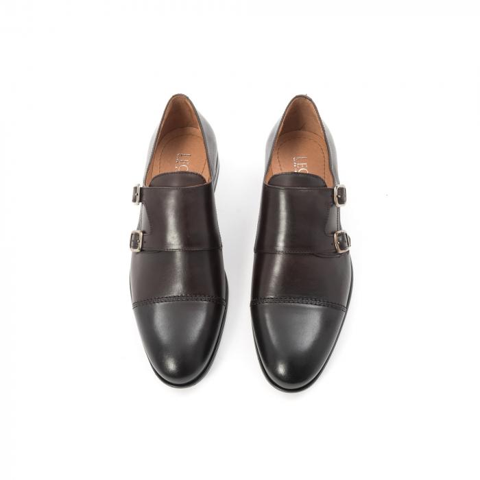 Pantofi barbati eleganti piele naturala Leofex 933, visiniu 5