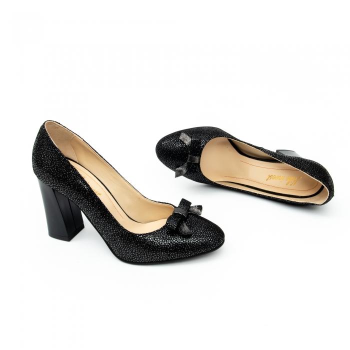 Pantof elegant dama -cod 1110 negru  glitter 1