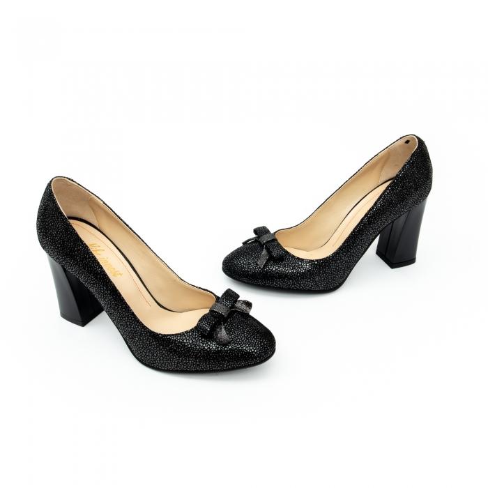 Pantof elegant dama -cod 1110 negru  glitter 5