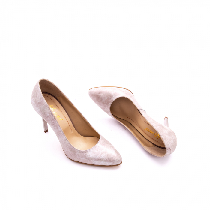Pantof elegant dama marca Nike Invest 1171 bej argintiu 2