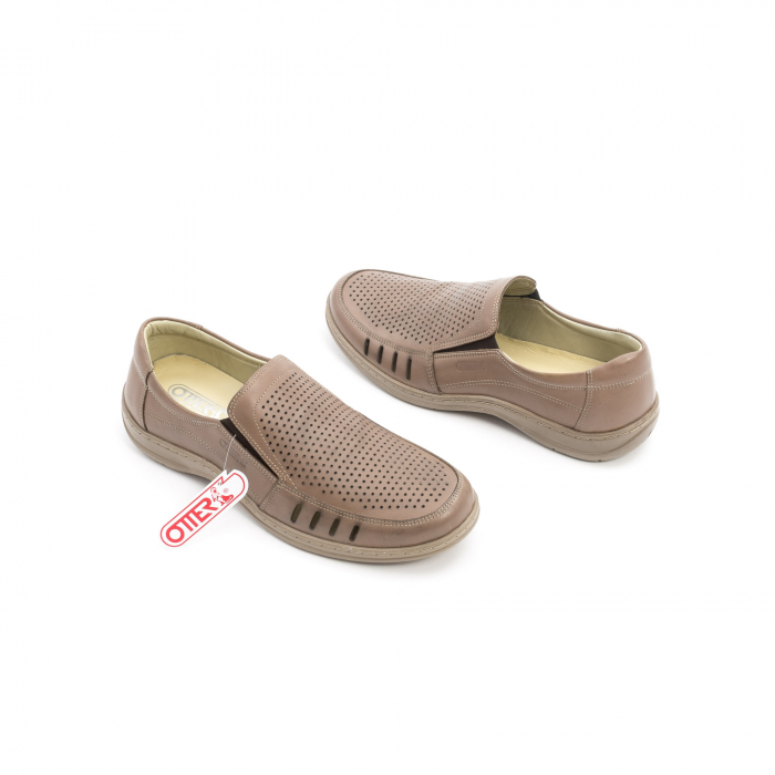 Pantofi barbati casual,  piele naturala, Otter 150 03-N, taupe 2